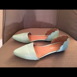 Turquoise Flats with Scallop Detail on Heels
